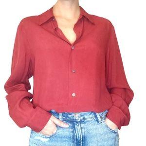 Jones New York Country 100% Silk Button Up Shirt